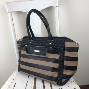 Betsey Johnson Large Heart Quilt / Stripe Satchel